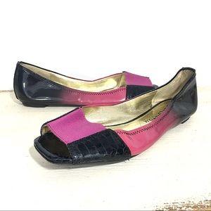 Sam Edelman Ebony Leather Black/Pink Peeptoe Flats